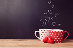 Fotos Valentinstag Tasse 2 Herz Bretter Lebensmittel