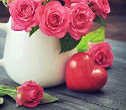 Hintergrundbilder Valentinstag Rosen Rosa Farbe Herz Blumen
