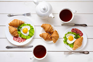 Images Valentine's Day Tea Croissant Knife Sausage Breakfast Two Cup Fried egg Heart Fork Food