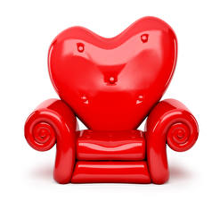 Photo Valentine's Day White background Wing chair Red Heart Design