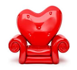 Fotos Valentinstag Weißer hintergrund Sessel Rot Herz Design