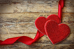 Picture Valentine's Day Wood planks Heart Two Red Ribbon