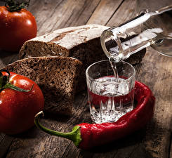 Pictures Vodka Bread Tomatoes Chili pepper Shot glass Food