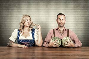 Picture Watermelons Man Blonde girl female
