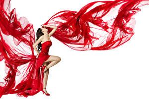 Bilder Weißer hintergrund Braune Haare Kleid Bein Tanz Mädchens