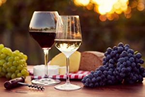 Image Wine Grapes Stemware Two Food