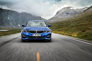 Pictures BMW Front Blue Moving 3-series M Sport G20 automobile