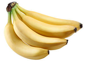 Images Bananas Closeup White background Food
