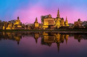 Sfondi desktop Bangkok Tempio Serata Riflessione Phra Nakhon si Ayutthaya