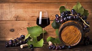 Picture Cask Wine Grapes Wood planks Stemware Food