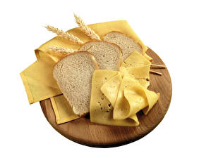 Photo Bread Cheese White background Ear botany Food