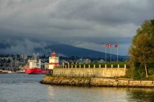Hintergrundbilder Kanada Gebäude Schiffsanleger Leuchtturm Vancouver Bucht Stanley Park