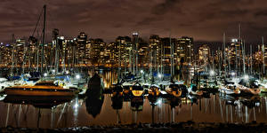 Fotos Kanada Vancouver Bucht Nacht Städte