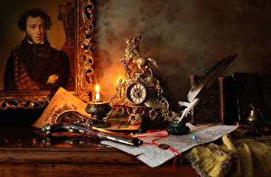 Bilder Kerzen Uhr Pistolen Federn Stillleben Antik Malerei Pushkin