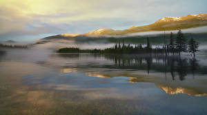 Images China Mountain Lake Scenery Fog Canas, southern Altai Nature