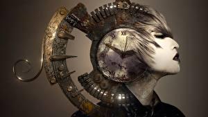 Sfondi desktop Orologio Quadrante orologio Testa Fantasy