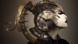 Bilder Uhr Zifferblatt Kopf Fantasy