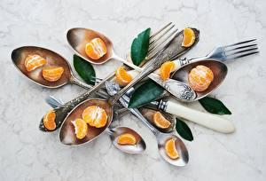 Desktop hintergrundbilder Nahaufnahme Mandarine Löffel Essgabel das Essen