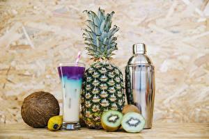 Photo Cocktail Pineapples Kiwi Coconuts Highball glass Food
