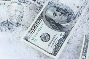 Fotos Dollars Geld Großansicht Schnee 100