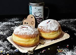 Bilder Donut Backware Puderzucker Gabel Herz