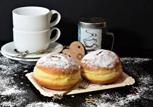 Hintergrundbilder Donut Puderzucker Essgabel Tasse Lebensmittel