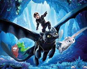 Image Dragons Young man Flight How to Train Your Dragon 3 The Hidden World Cartoons