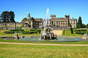 Photo England Building Fountains Sculptures Mansion Lawn Witley Court Cities