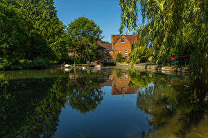Hintergrundbilder England Gebäude Flusse Bootssteg Whitchurch Natur