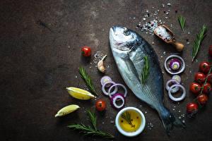 Wallpaper Fish - Food Tomatoes Onion Lemons Salt Food