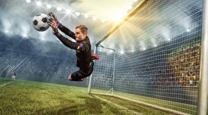 Bilder Fußball Torwart Mann Ball Sprung Sport