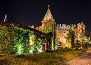 Fotos Festung Serbien Nacht Lichtstrahl Belgrade Fortress Städte