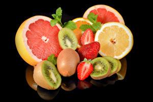 Pictures Fruit Grapefruit Chinese gooseberry Strawberry Orange fruit Black background Food