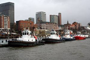 Bilder Deutschland Haus Bootssteg Flusse Schiffe Hamburg Elbe river Städte