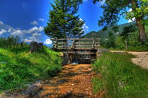 Wallpaper Germany Rivers Bridges HDRI Grass Bischofswiesen Nature