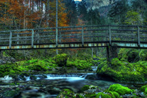 Pictures Germany Rivers Bridges Forests Stones Moss HDR Schwarzbach river