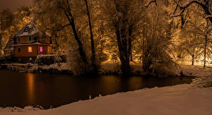 Picture Germany Winter Houses Evening Rivers Snow Trees Cunewalde Nature