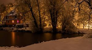 Bilder Deutschland Winter Haus Abend Fluss Schnee Bäume Cunewalde