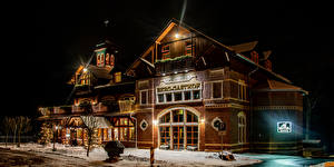 Pictures Germany Winter Building Night time Design Street lights Hotel Gasthof Honigbrunnen Loebau Cities
