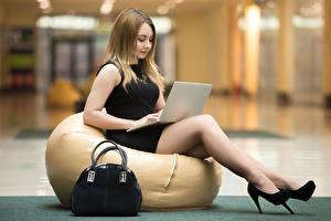 Images Purse Sitting Laptops High heels Legs Girls