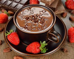 Hintergrundbilder Hot chocolate Erdbeeren Tasse Untertasse Lebensmittel