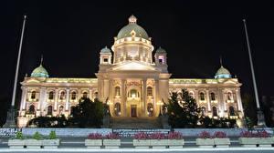 壁纸、、建物、セルビア、街灯、夜、National Assembly Belgrade、