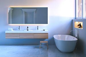 Bilder Innenarchitektur Design Badezimmer Spiegel 3D-Grafik