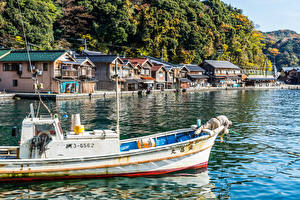 デスクトップの壁紙、、日本、京都市、建物、川、桟橋、モーターボート、