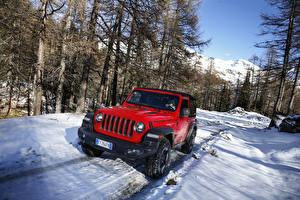 Wallpaper Jeep SUV Red Metallic Snow 2018-19 Wrangler Rubicon automobile