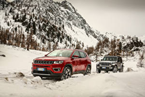 Fotos Jeep 2 Sport Utility Vehicle Metallisch Schnee Autos