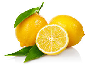 Pictures Lemons Closeup White background Food
