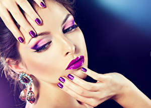 Wallpaper Lips Fingers Face Makeup Hands Manicure Earrings Girls