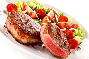 Bilder Fleischwaren Gemüse Weißer hintergrund Lebensmittel