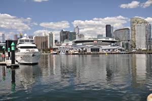 Bilder Melbourne Australien Bootssteg Gebäude Jacht